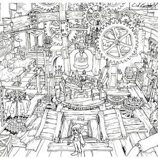 Concept art of Tantalus's hideout.