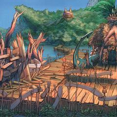 Artwork of Kilika after Sin's attack.