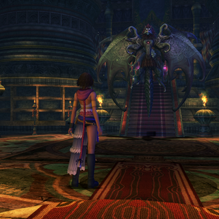 Yuna encounters Valefor inside the temple.