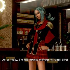 Carla in-game in her Class Zero uniform.