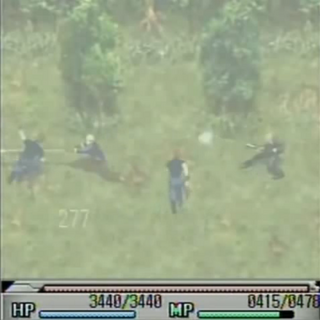 Cid attacking in <i>Before Crisis</i>.