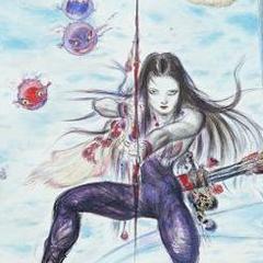 Detail of Maria from Yoshitaka Amano's <i>Final Fantasy II</i> <a href=