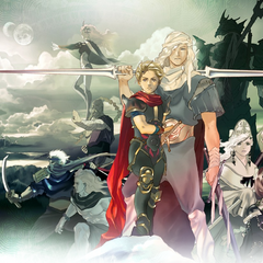 Artwork of the cast, featuring Kain as the Hooded Man.