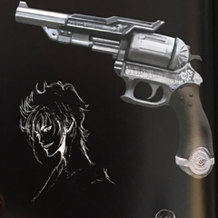 Artwork of Prompto and accessories associated with him.
