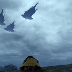 Garlean airships flying over Mor Dhona.