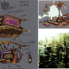 Concept artworks of the Shoopuf ride and the sunken city.