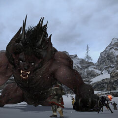 A party of players fighting a Behemoth in Coerthas.