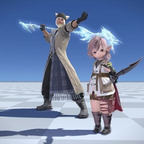 Snow costume with Lightning costume in <i>Final Fantasy XIV</i>.