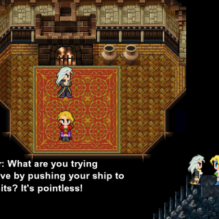 Setzer tells Celes about Darill's story (iOS/Android/PC).