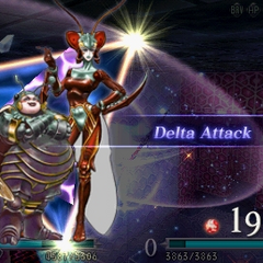 Magus Sisters using Delta Attack when summoned in <i><a href=