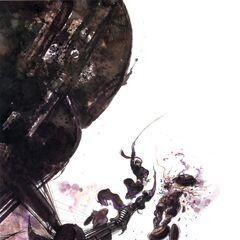 Yoshitaka Amano artwork of Shadow battling Magna Roaders.