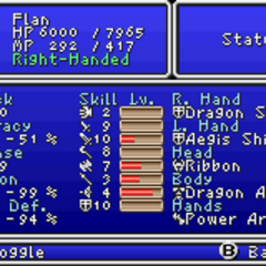 First page of the Status menu in the GBA version.