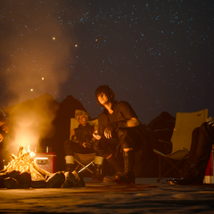 Ignis with the party at the camping site.