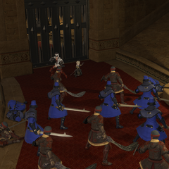Yda and Papalymo hold the enemies while the other Scions escape from the royal palace.