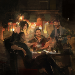 Concept art of Crowe, Nyx and Libertus at a bar.