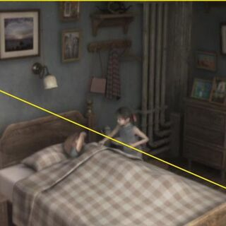 The 7th Heaven concept art in Marlene and Denzel's room.