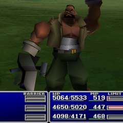 Barret using an item on an ally in <i><a href=