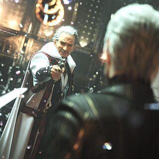 Iedolas holds King Regis at gunpoint.