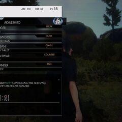 Weapon menu.