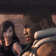 Barret with Tifa in <i>Dirge of Cerberus</i>.