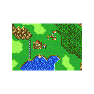 The fire-powered ship on the World Map (GBA).