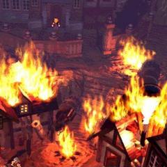 Nibelheim in flames from Cloud's flashback.