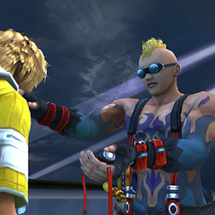 Brother using sign language to communicate with Tidus.