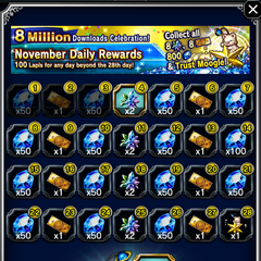 November 2016 Daily Rewards for global release.