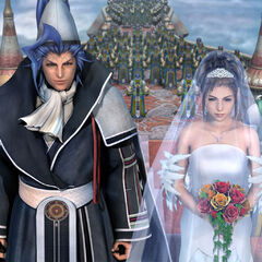 Yuna and Seymour getting married in Bevelle.