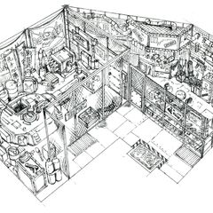 Concept art of Wall Market weapon shop.