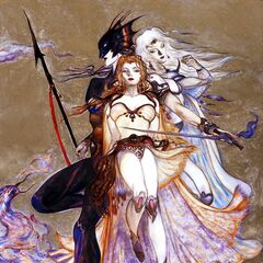 Artwork by Yoshitaka Amano featuring Kain, Rosa, and Cecil.