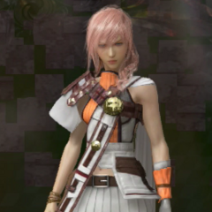 Lightning in a redesigned White Mage garb in <i><a href=
