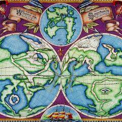 World map artwork.