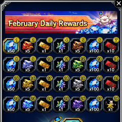 February 2017 Daily Rewards for global release.