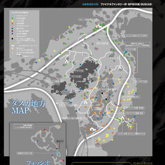Map of Duscae from <i>Famitsu</i> with the cave map in the corner.