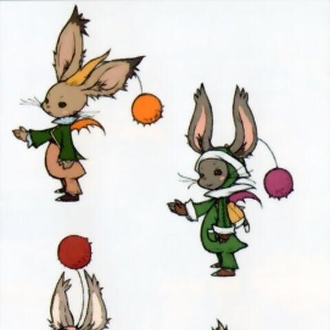 Artwork of the moogle siblings.