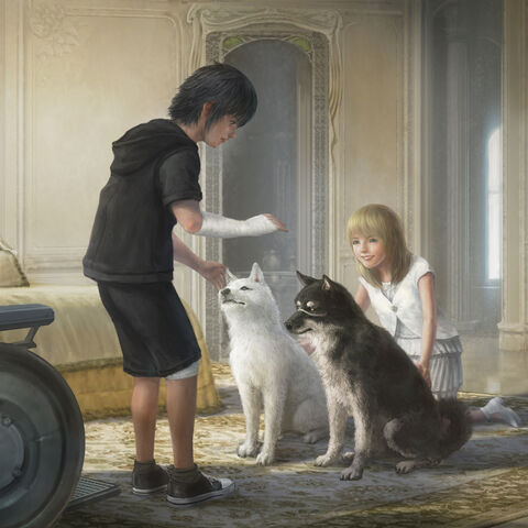 Concept artwork of young Noctis and Luna with Pryna and Umbra.