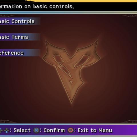 The Help menu (PS2).