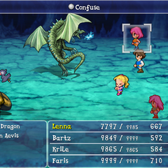 Black chocobos in a Confuse spell in <i>Final Fantasy V</i> (iOS).
