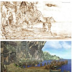Concept artwork of Lindblum port at various stages of development.