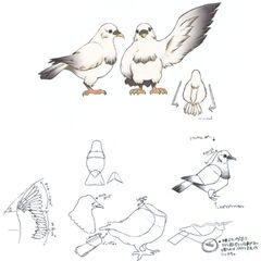 Concept artwork of the pigeons Garnet was found with atop Lindblum castle.