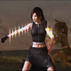 Screenshot from the end of the first movie, showing Tifa glowing with Materia.