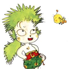 Artwork of Mog with Gau by Yoshitaka Amano.