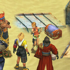 Rikku introducing everyone to Sanubia Sands in <i>Final Fantasy X</i>.