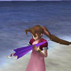 Aeris with Umbrella in <i>Final Fantasy VII</i>.