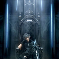 Noctis sitting on his throne.