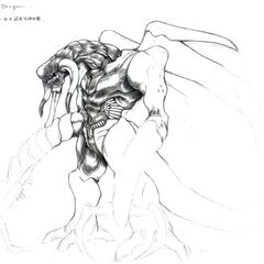 Concept art for the unused Onyx Dragon. The concept would later become the design for Ultimate Weapon.