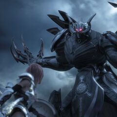 Caius assumes the form of Chaos Bahamut in the next phase of his battle with Lightning.