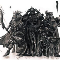 Yoshitaka Amano artwork of Gabranth with Bergan, Zargabaath, Drace and Ghis.