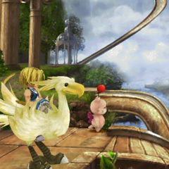 Choco, Zidane and Mene at Chocobo's Paradise.